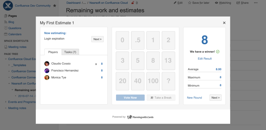 Agile estimates in confluence